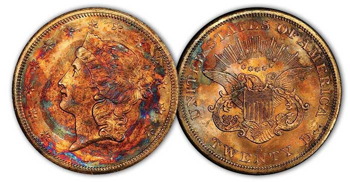 1857-S $20 Spiked Shield, PCGS MS67 CAC