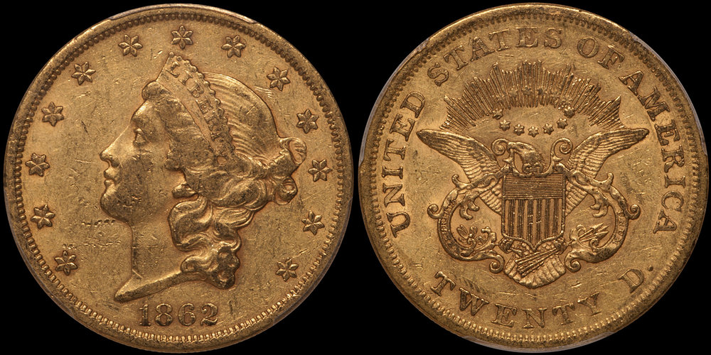 1862 $20.00 PCGS AU50 CAC, EX FAIRMONT. Images courtesy Doug Winter Numismatics (DWN)