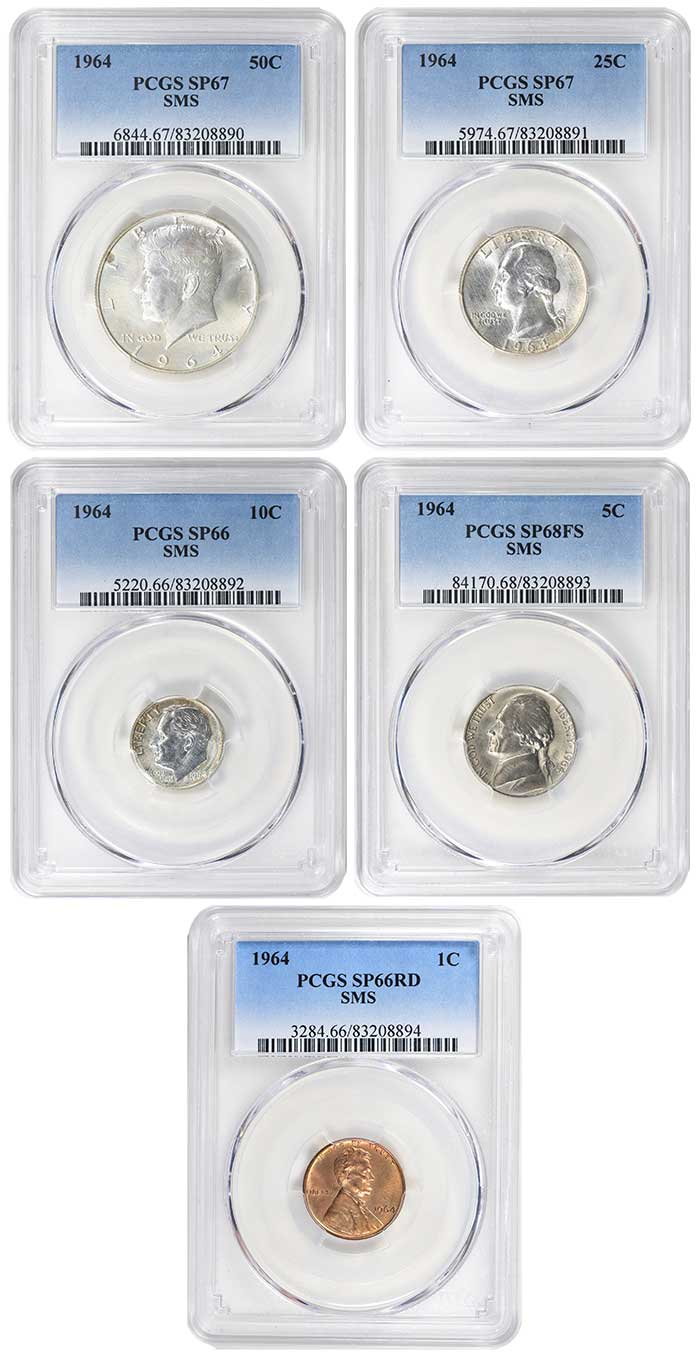 1964 Special Mint Set Coins - PCGS Matched Set