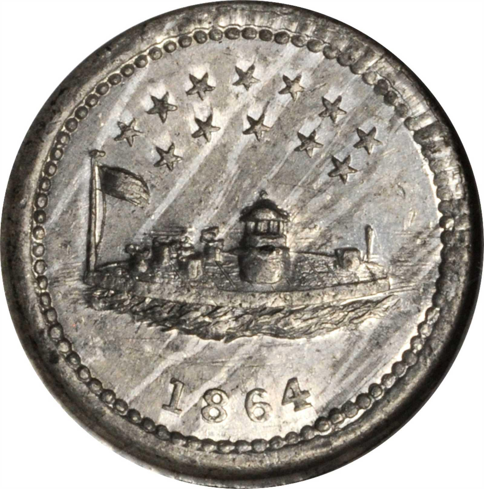 1864 Monitor / OUR NAVY. Fuld-241/336 e. Rarity-8. White Metal. 20 mm. MS-62 (NGC). Image courtesy Stack's Bowers Auctions