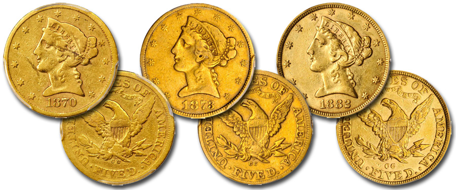 Drummer Collection of Carson City Half Eagle $5 gold coins at Stack's Bowers Rarities Night Auction at 2019 Whitman Summer Bltimore Coin Show