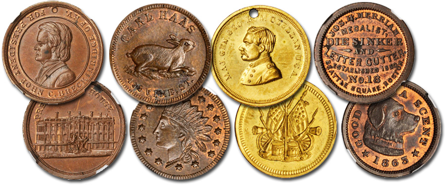 Ralph A. Edson Collection of Civil War tokens, store card and Washington medals. Images courtesy Stack's Bowers Auctions