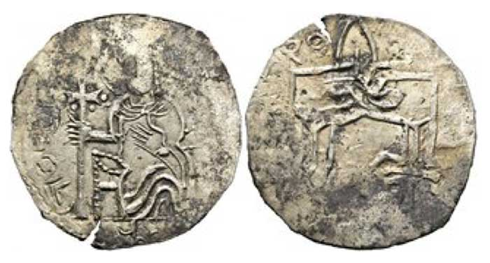 Kiev - Sviatopolk I. 1015-1018 Srebrennik (2,14g) enhroned Prince with cross staff in right hand  Rv: trident with one arm as a cross.  Edge crack. RRR