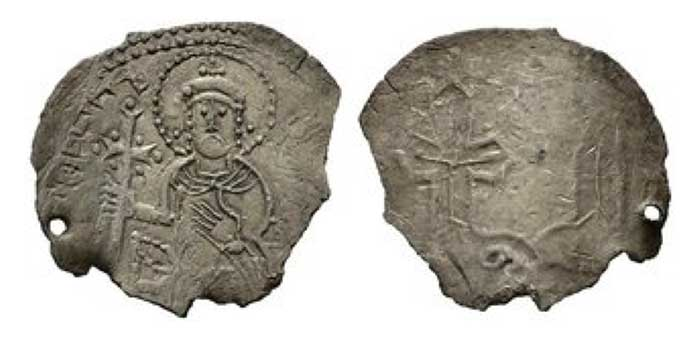 Sviatopolk I. 1015-1018  Srebrenik (1,71 g) Enthroned facing figure of Prince Svyatopolk, wearing hat with a cross, and holding long cross in his right hand, legend around / Two-armed symbol with one arm ending in a cross. . Sotnikova/Spasski:Typ III.; pierced and broken , RRR