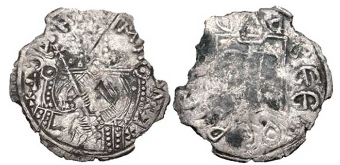 Kievan Rus. Vladimir II Monomakh. 1113-1125. BI Srebrennik (26mm, 2.28 g, 6h). Type III. Vladimir enthroned facing, holding cross-tipped scepter; throne with curved and jeweled back / Trident. Sotnikova & Spasskij type III;  Very rare.