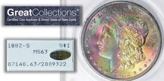 Rainbow Toned 1882-S Morgan Silver Dollar With Gold CAC and OGH at GreatCollections