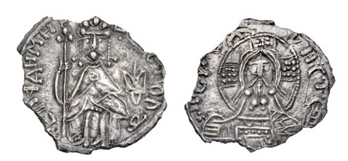 "Grand Principality of Kiev. Vladimir I, the Great (980-1015) silver Srebrennik ND UNC - scratch, edge chips, 24mm. 2.22gm. S&S Type I, 12-1 (same dies). Obv.: Enthroned figure of Grand Prince Vladimir in Byzantine-imperial dress with crown facing, tall cross-topped staff in right hand, pulling left towards chest; trizub to right; legend around reads Vladimir na stole (""Vladimir on the throne"") in old cyrillic / half figure of Christ Pantocrator facing with nimbus cruciger, wearing extra curly beard, book of Gospels in left hand held to chest; legend around reads Vladimir, a se yego srebro (""Vladimir, and this is his silver"")."