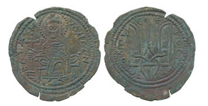 "KIEV. Vladimir Sviatoslavich (978-1015), Srebrenik of Type IV, 3.5g, prince enthroned holding cross, ВЛАДИМИРЪ H, rev trident symbol of Vladimir, А СТОЛЕ А СЕ ЕГО СРЕБРО (""Vladimir is on the throne and this is his silver""), (Sotnikova 168; cf Sp 32:3). Some cracks to edge of flan as usual, otherwise extremely fine and extremely rare in this condition."