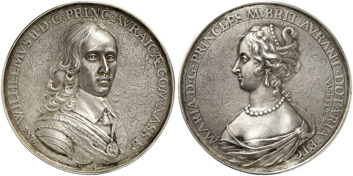 GREAT BRITAIN. England. William II of Orange. 1650 AR Cast Medal. Images courtesy Atlas Numismatics