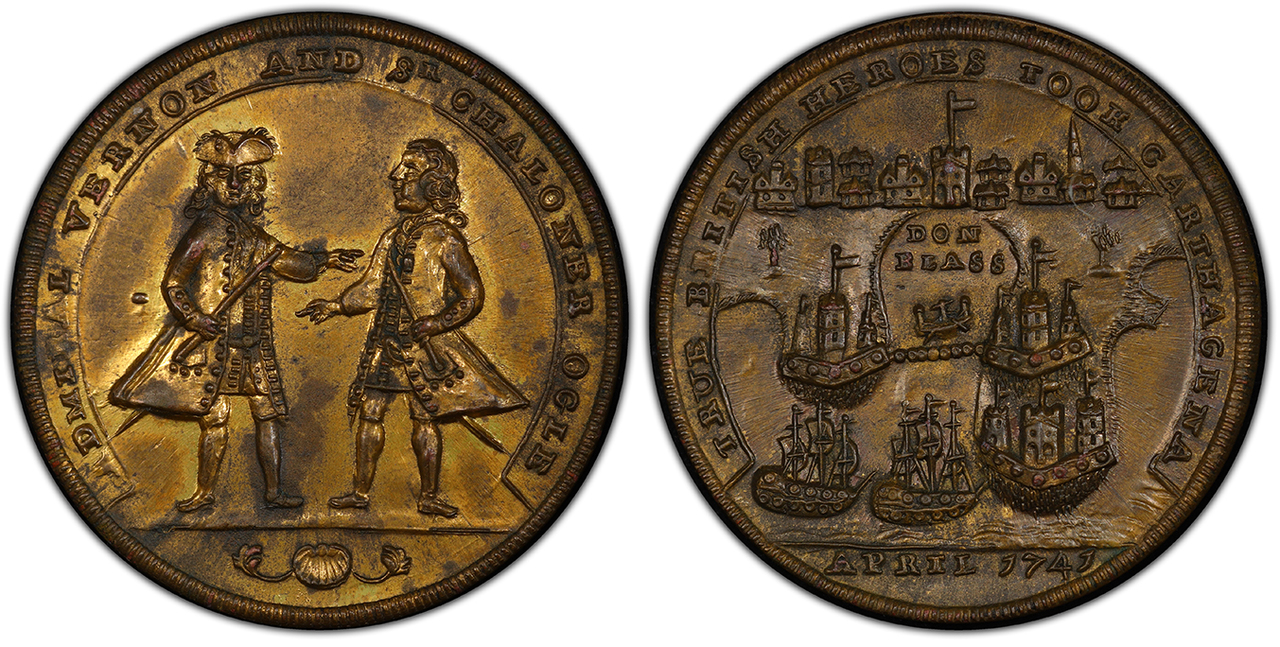 GREAT BRITAIN. Admiral Vernon. 1741 Bath Metal Medal. Images courtesy Atlas Numismatics