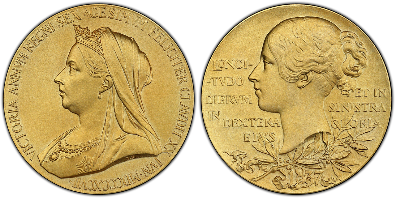 GREAT BRITAIN. Victoria. (Queen, 1837-1901). 1897 Gilt AR Medal. Images courtesy Atlas Numismatics