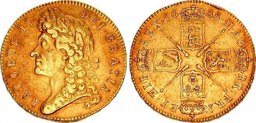GREAT BRITAIN. England. James II. (King, 1685-1688). 1688 AV Five Guineas. NGC XF40. Images courtesy Atlas Numismatics