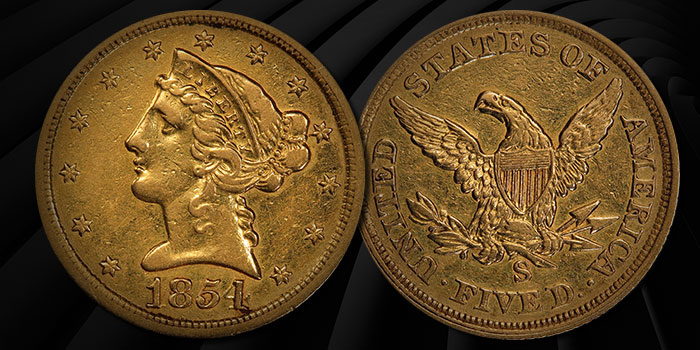 1854-S Half Eagle Gold Coin