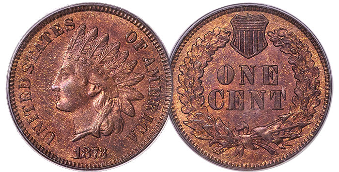 1873 Doubled Liberty Indian Head Cent