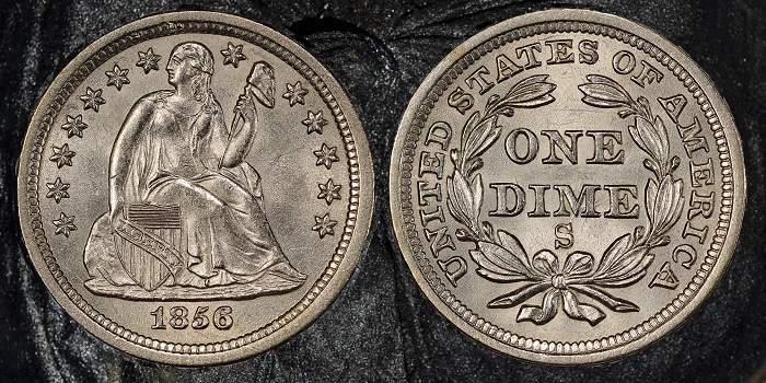 A rare 1856-S Liberty Seated dime, now graded PCGS MS65 CAC and tied for finest known, was among the sunken treasure coins recently discovered from the last recovery expedition to the fabled S.S. Central America, according to California Gold Marketing Group. Photo credit: Professional Coin Grading Service www.PCGS.com.