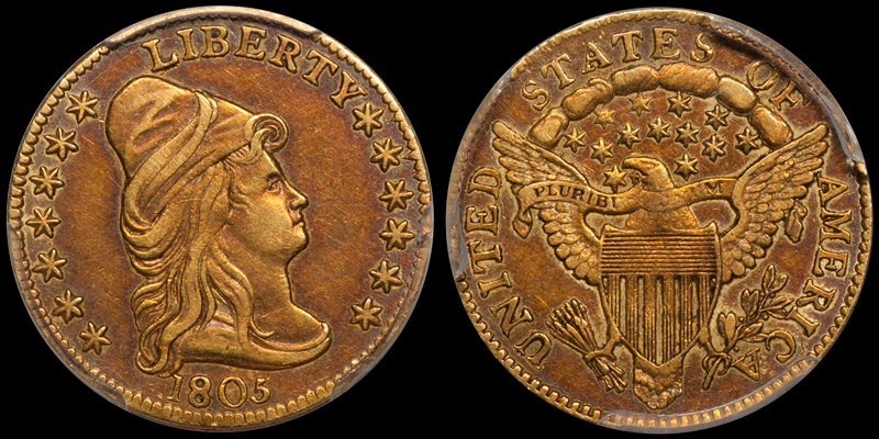 A toned 1805 $2.50 PCGS AU50, from the Douglas Winter Numismatics Archives