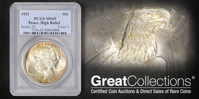 GreatCollections 1921 Peace Dollar , High Relief - PCGS MS65