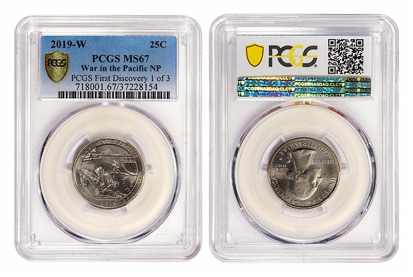 """It was like hitting the jackpot!"" This PCGS First Discovery 2019-W Guam quarter found in Georgia is now graded PCGS MS67. Photo courtesy of Professional Coin Grading Service www.PCGS.com."