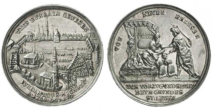 """No. 8364: Hamburg. Silver medal 1754 on the groundbreaking ceremony for the """"Kleiner Michel"""" church Rare. Almost extremely fine. Estimate: 100 euros."""