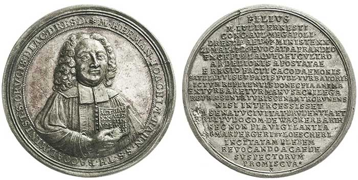 No. 8555: Saxony. Silver medal on the violent death of the preacher Hermann Joachim Hahn 1726. Second-known specimen in trade. Extremely fine. Estimate: 400 euros.