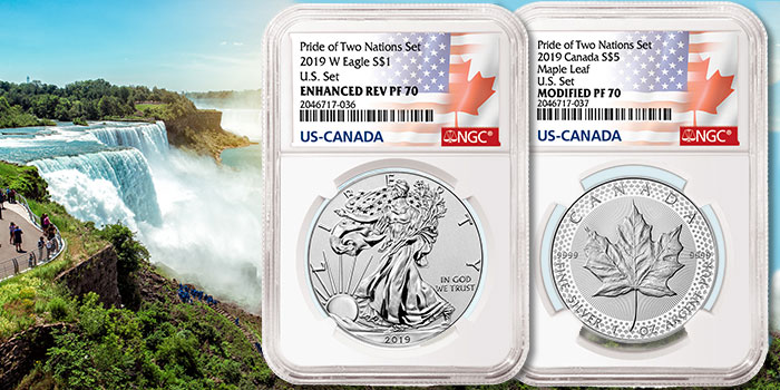 Pride of Two Nations - American Silver Eagle Canadian Maple Leaf Silver coins