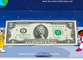 Bureau of Engraving and Printing presents the 2019 $2 Federal Reserve Note Rocketship for kids