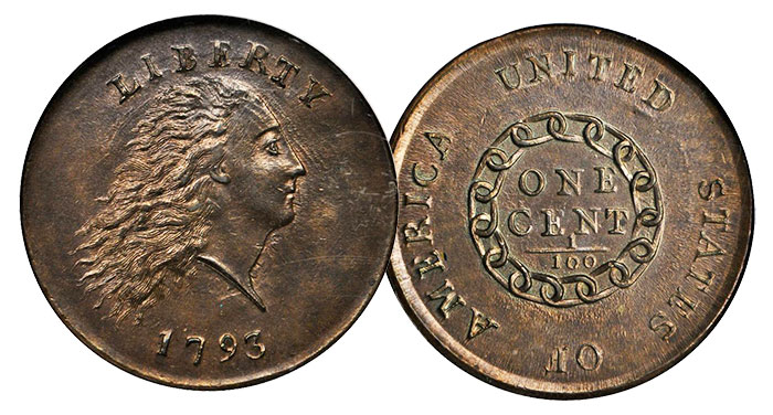 1793 Chain AMERICA Cent Sheldon-3 NGC MS-66 BN Ex: Thomas Cleneay Collection 1793 Chain Cent. S-3. Rarity-3-. AMERICA. No Periods. MS-66 BN (NGC).