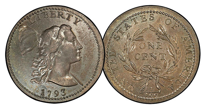 The Mickley-Sheldon-Husak 1793 Sheldon-13 Liberty Cap Cent. About Uncirculated-58 (PCGS). Price Realized: $940,000. Stack's Bowers. March 2017.