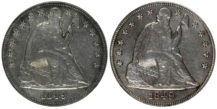 Obverse, example #4 (Left) and example #5 (Right)