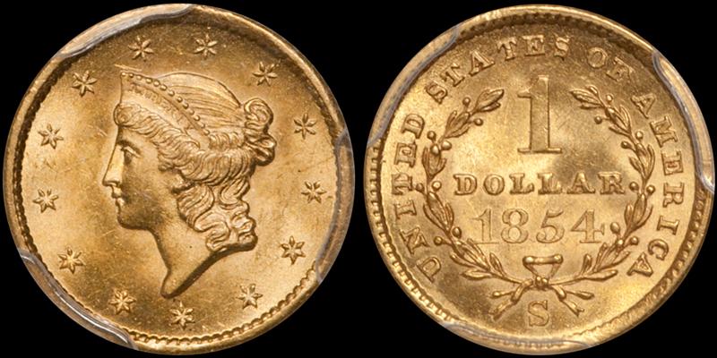 1854-S $1.00 PCGS MS64 CAC. Image courtesy Doug Winter Numismatics