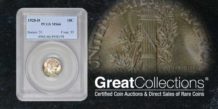 GreatCollections 1928-D Mercury Dime