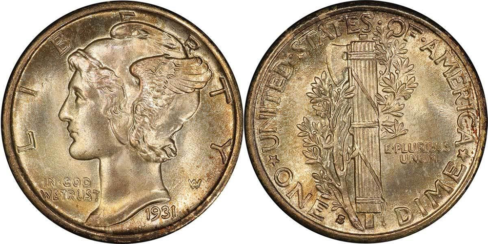 1931-S 10C PCGS MS67+ FB CAC, COURTESY OF LEGEND