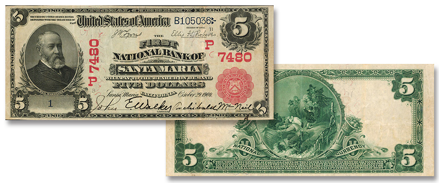 Newly Discovered red Seal First National Bank of Santa Maria, California $5 bill, serial number 1, at Stack's Bowers Official US Currency Auction of the 2019 ANA World's Fair of Money