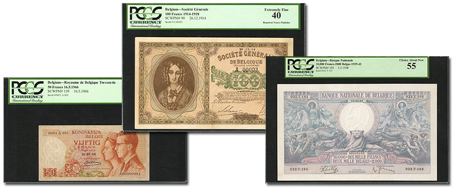 Beligum banknotes at Stack's Bowers August 2019 ANA World's Fair of Money Official Auction of World Currency