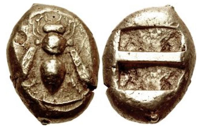 Ephesos. Circa 550 BC. EL Hemistater