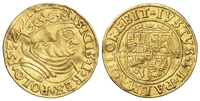 No. 2851: Poland. Sigismund I, 1506-1548. Ducat 1532, Kraków. Phoibos Collection. Extremely rare. Slightly bent, very fine. Estimate: €20,000. Hammer price: €70,000