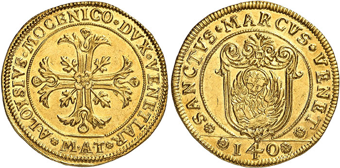 No. 3185: Italy. Venice. Alvise IV Mocenigo, 1763-1778. Off-metal strike in gold of 12 zecchini from the dies of the Scudo della croce ND. Extremely rare. Extremely fine to FDC. Estimate: €40,000. Hammer price: €100,000