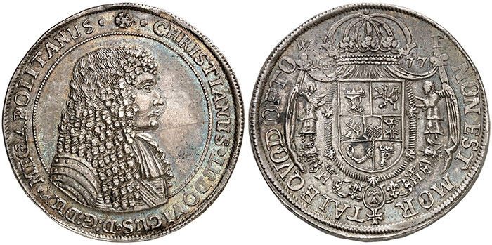 No. 522: Mecklenburg. Christian Louis I, 1658-1692. Double reichstaler 1677, Dömitz. Extremely rare. Extremely fine. Estimate: €30,000. Hammer price: €80,000