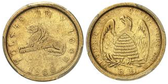Mormon Gold, Salt Lake City, Utah, 1849-1860. 5 Dollars