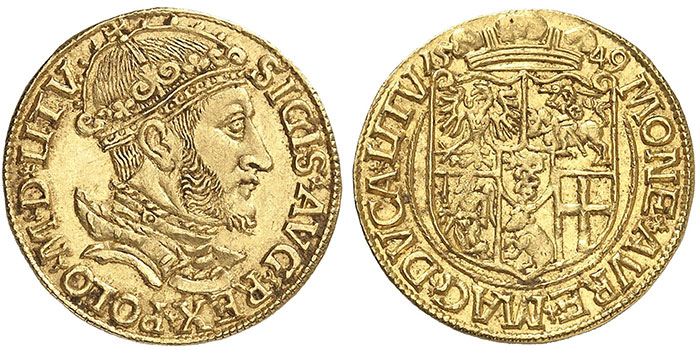 No. 2852: Sigismund Augustus, (1530-)1548-1572. Ducat 1549, Vilnius for Lithuania. Phoibos Collection. Extremely rare. Almost FDC. Estimate: €40,000. Hammer price: €92,500