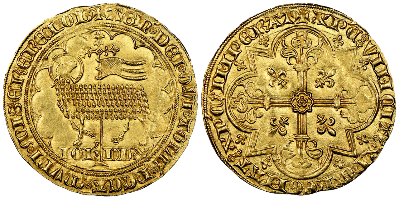 BELGIUM. Brabant. Joanna and Wenceslas. (Duchess and Duke, 1354-1383). 1355-83 (ND) AV 2 Mouton d'Or. Images courtesy Atlas Numismatics