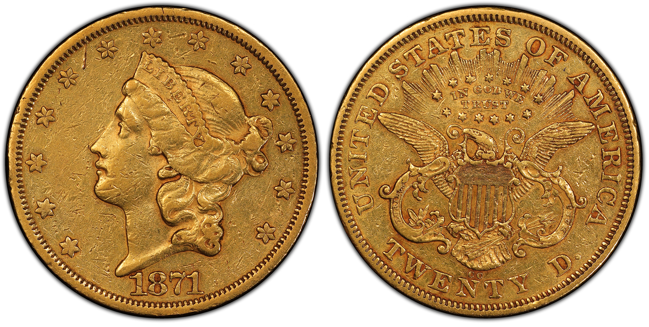 UNITED STATES OF AMERICA. 1871-CC AV $20, Double Eagle. PCGS XF40. U.S. Mint, Carson City. Images courtesy Atlas Numismatics