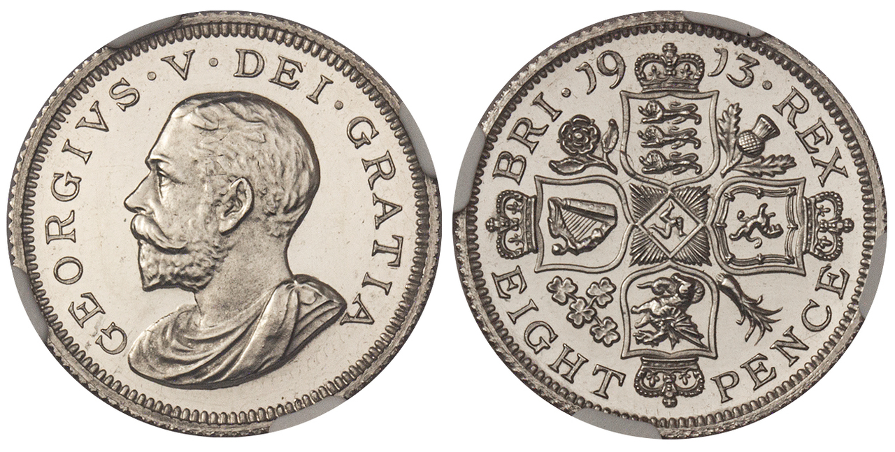 GREAT BRITAIN. George V. (King, 1910-1936). 1913 Platinum Octorino (Eightpence). Images courtesy Atlas Numismatics