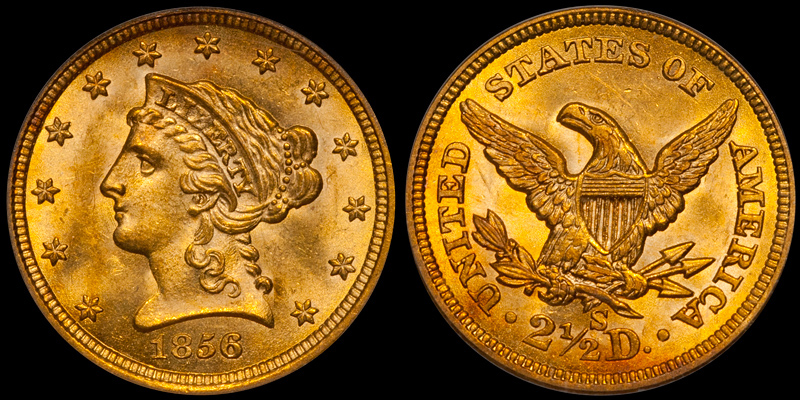 1856-S $2.50 PCGS MS63 CAC, From SS Central America. Images courtesy Doug Winter Numismatics