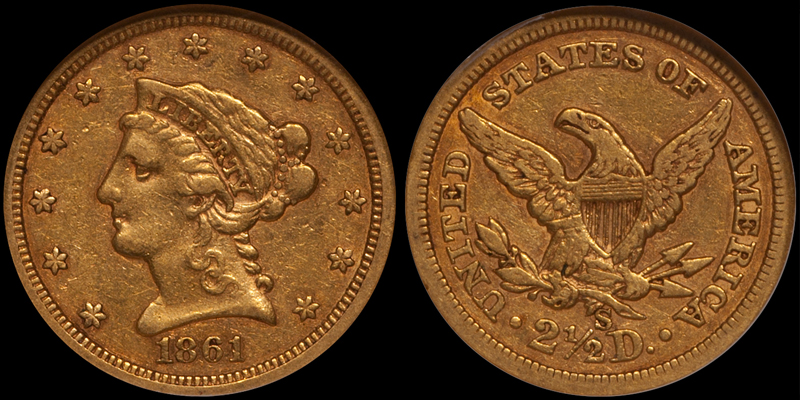 1861-S $2.50 NGC EF45 CAC. Images courtesy Doug Winter