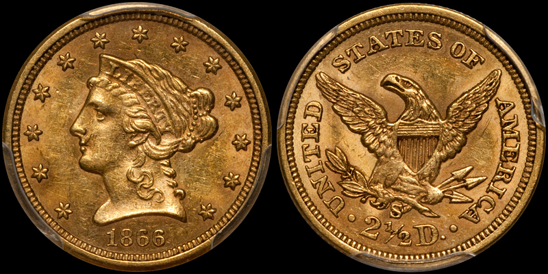 1866-S $2.50 PCGS MS61 CAC. Images courtesy Doug Winter