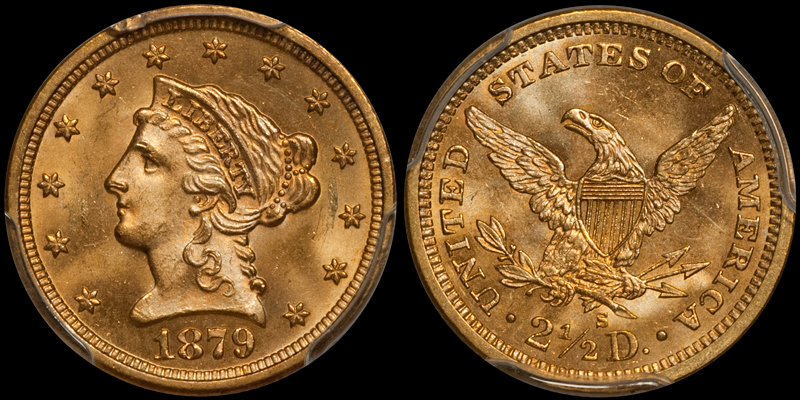1879-S $2.50 PCGS MS64+ CAC. Images courtesy Doug Winter
