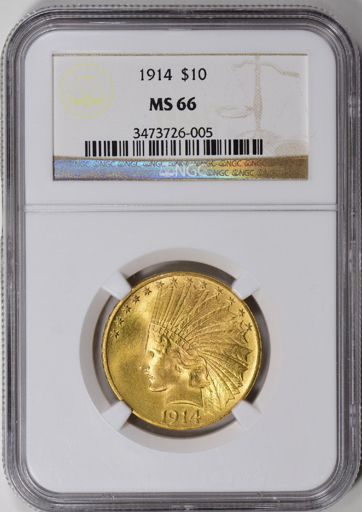 1914 Indian Head $10 gold eagle MS66. Image courtesy NCIC, Doug Davis