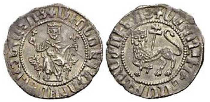 LEVON I, 1198-1219. Double tram. The king seated holding cross and scepter. Rv. Crowned lion l. holding cross behind him; no marks in field. 5.31 g. Bed. 13.