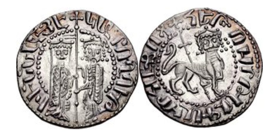Cilician Armenia. Hetoum I and Zabel. 1226-1270. AR Tram (20mm, 3.00 g, 12h). Zabel and Hetoum standing facing one another, each crowned with head facing and holding long cross between / Crowned lion advancing right, head facing, holding long cross. AC 336.